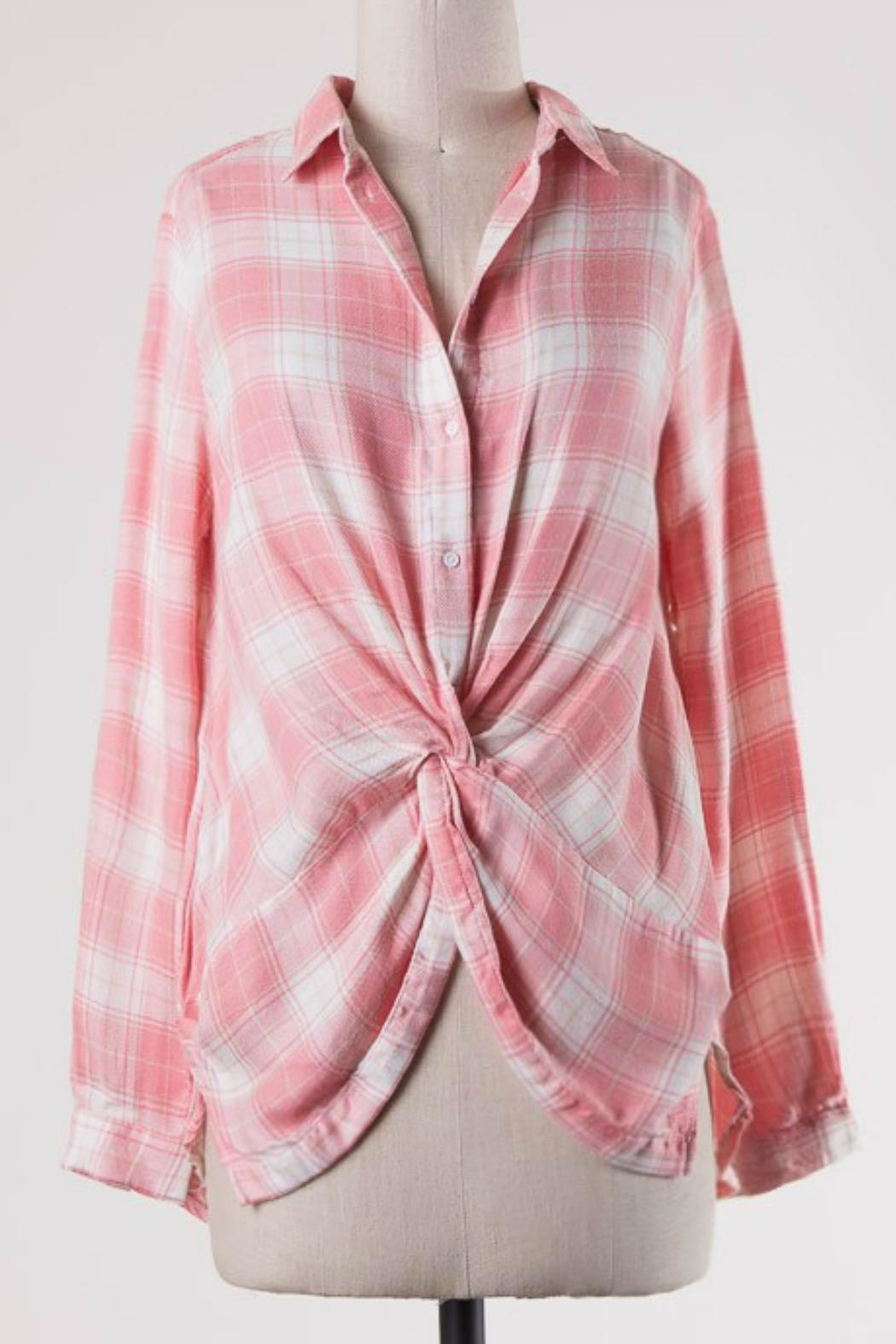 ijoah Pink Plaid Top - Front Cropped Image