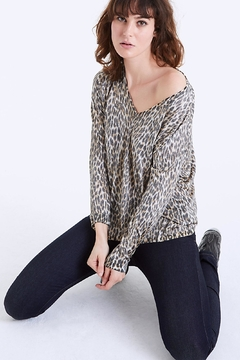 IKKS Panther Print V Neck Sweater - Product List Image