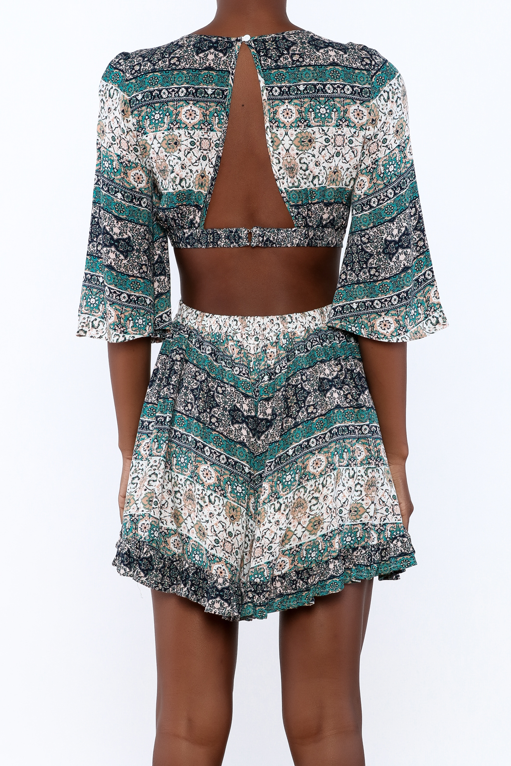 Illa Illa Crochet Patch Romper - Back Cropped Image