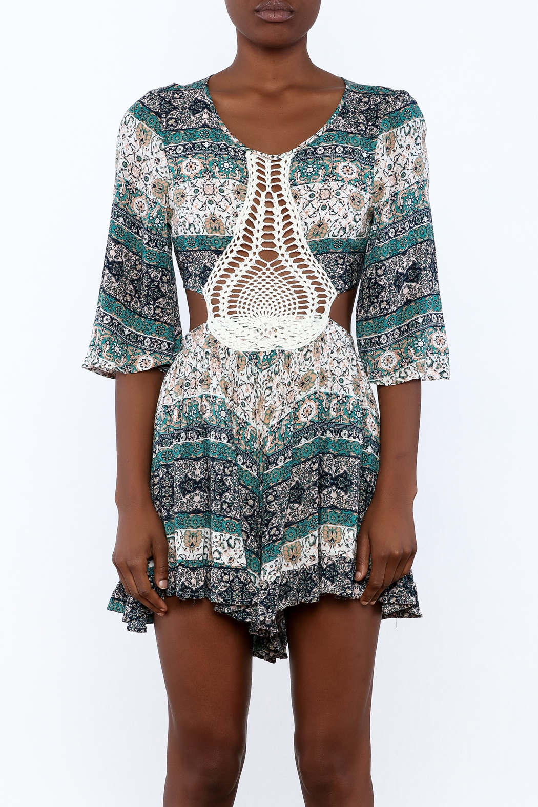 Illa Illa Crochet Patch Romper - Side Cropped Image