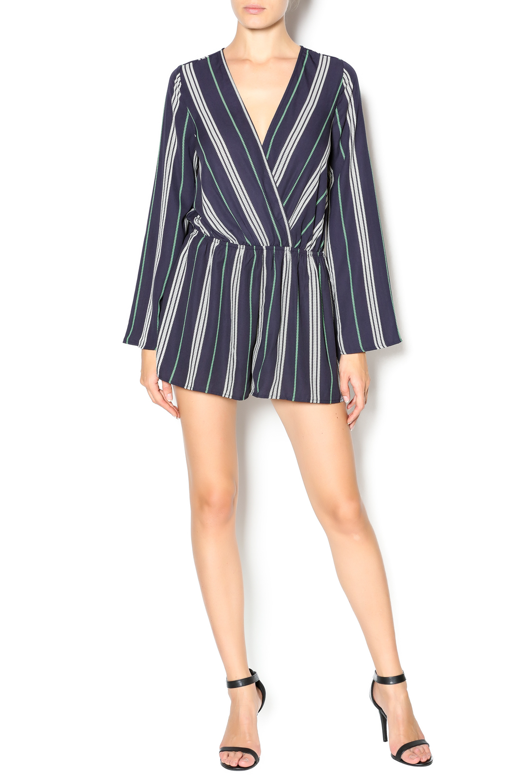 Illa Illa Navy Striped Romper - Front Full Image