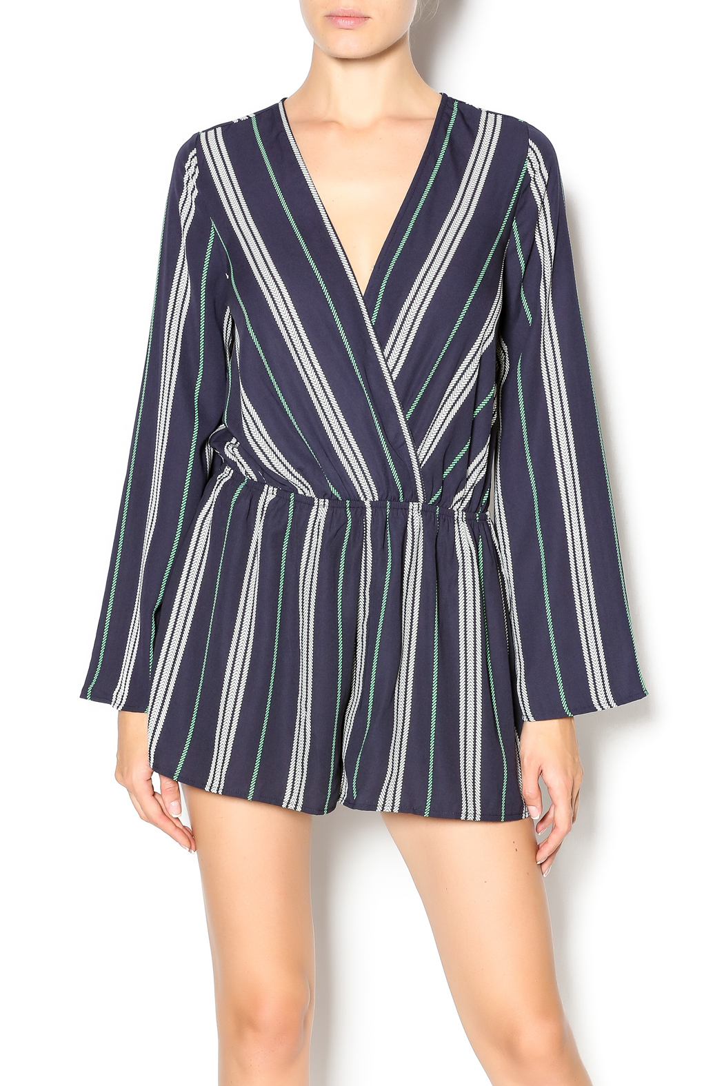 Illa Illa Navy Striped Romper - Main Image
