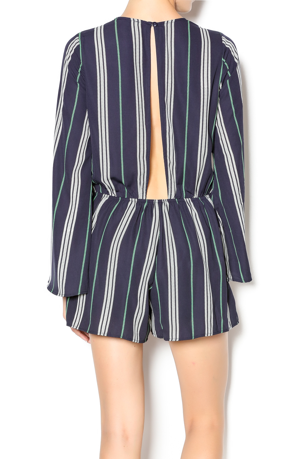 Illa Illa Navy Striped Romper - Back Cropped Image