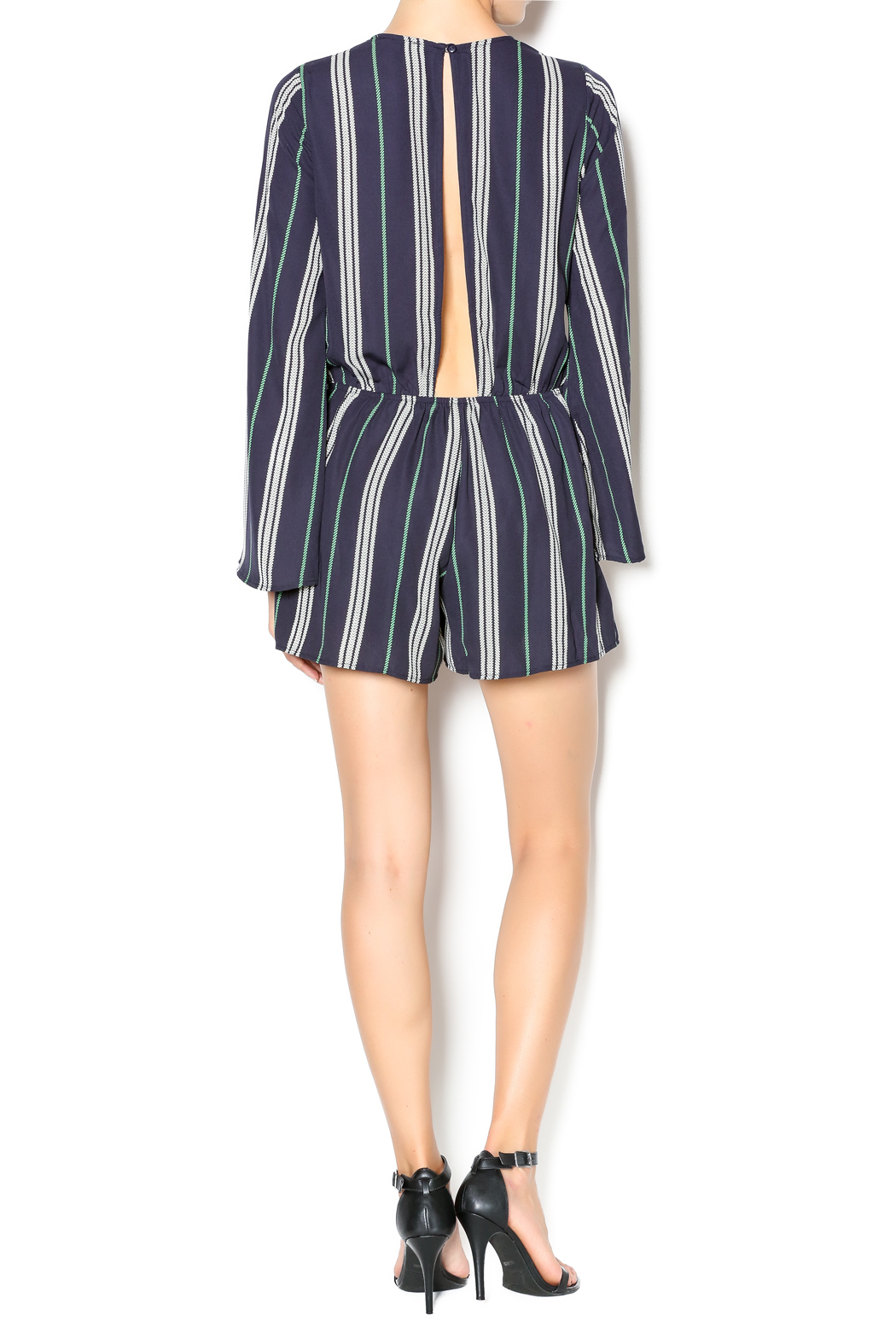 Illa Illa Navy Striped Romper - Side Cropped Image
