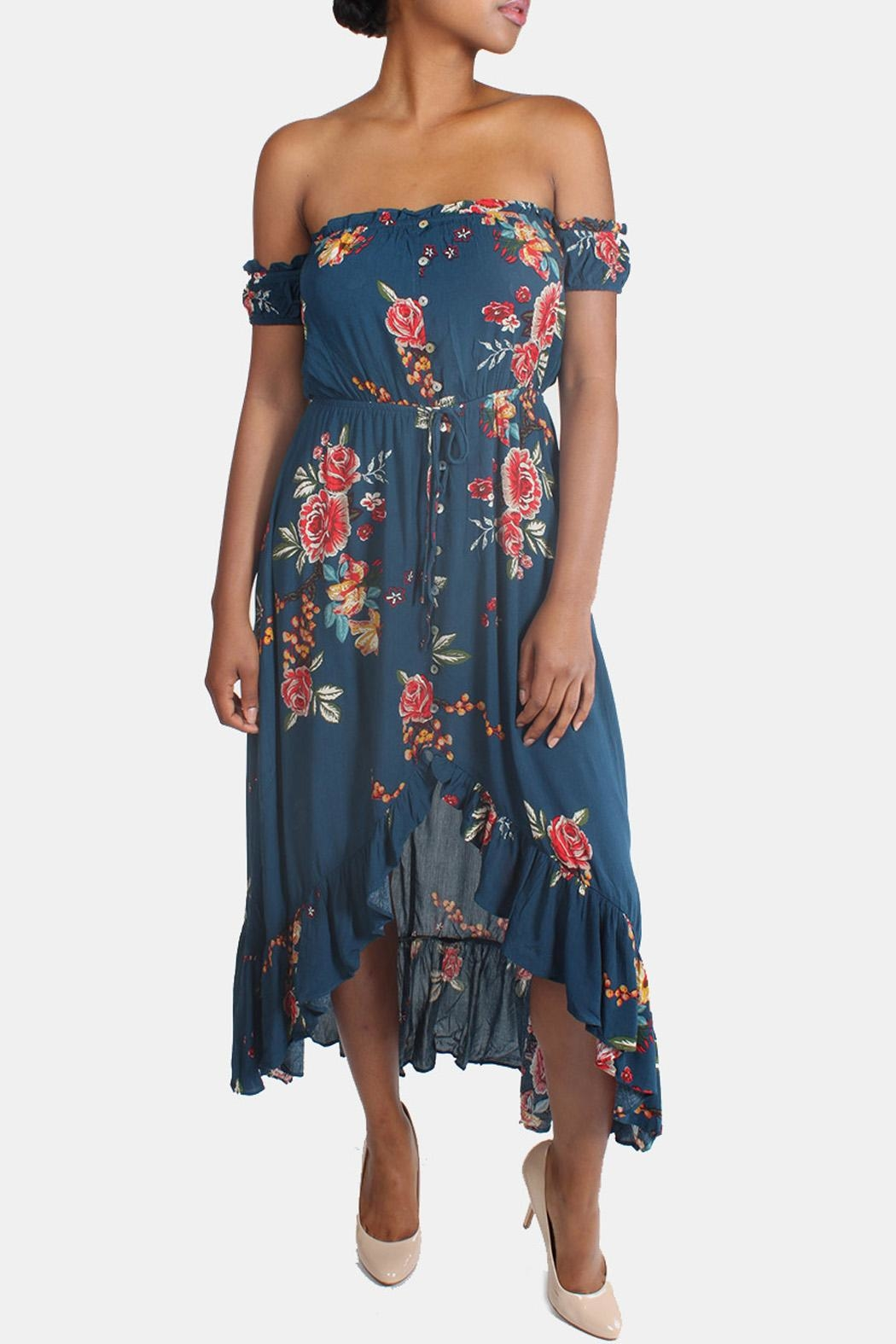 Illa Illa Blue Off-The-Shoulder Floral-Dress - Main Image