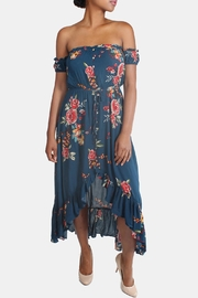 Illa Illa Blue Off-The-Shoulder Floral-Dress - Front cropped