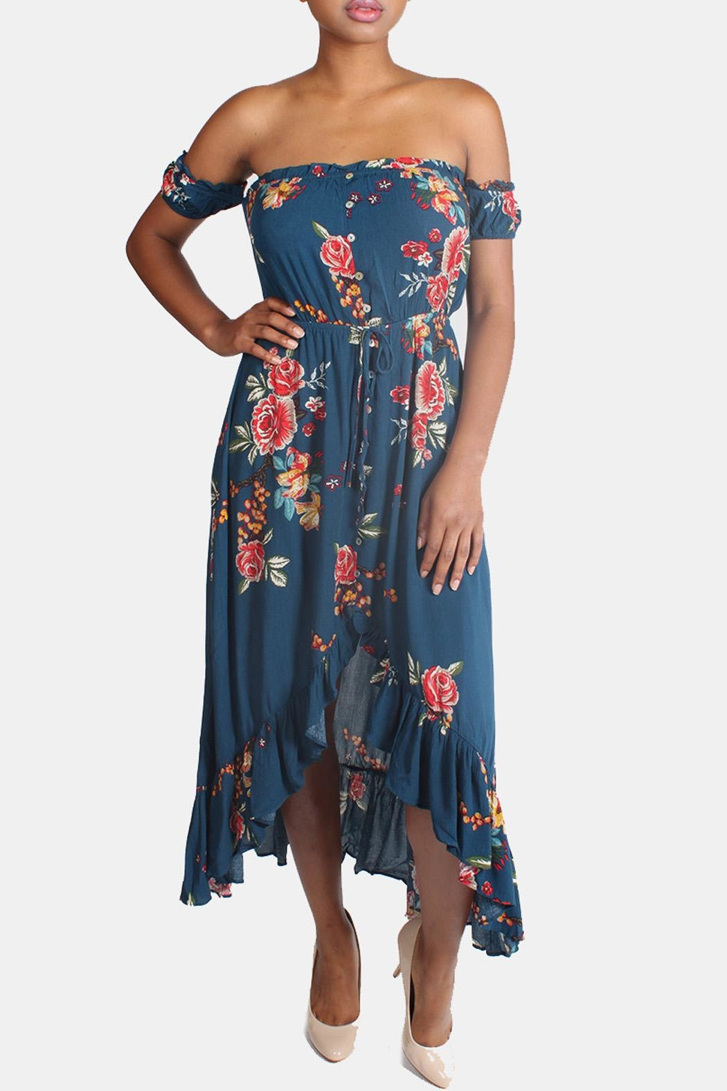 Illa Illa Blue Off-The-Shoulder Floral-Dress - Front Full Image