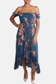 Illa Illa Blue Off-The-Shoulder Floral-Dress - Front full body