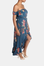 Illa Illa Blue Off-The-Shoulder Floral-Dress - Side cropped