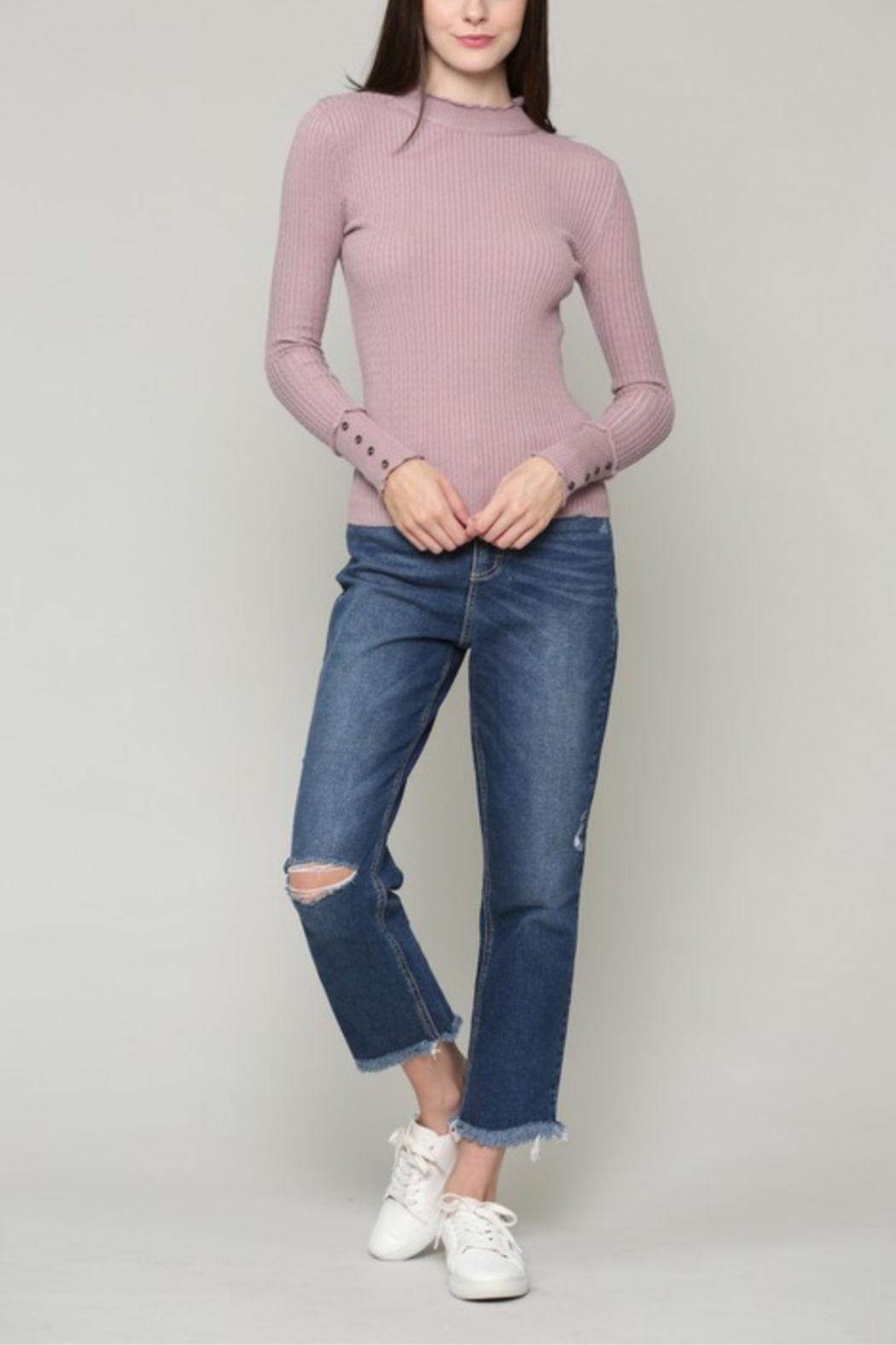 Illa Illa Cableknit Button Top - Front Cropped Image