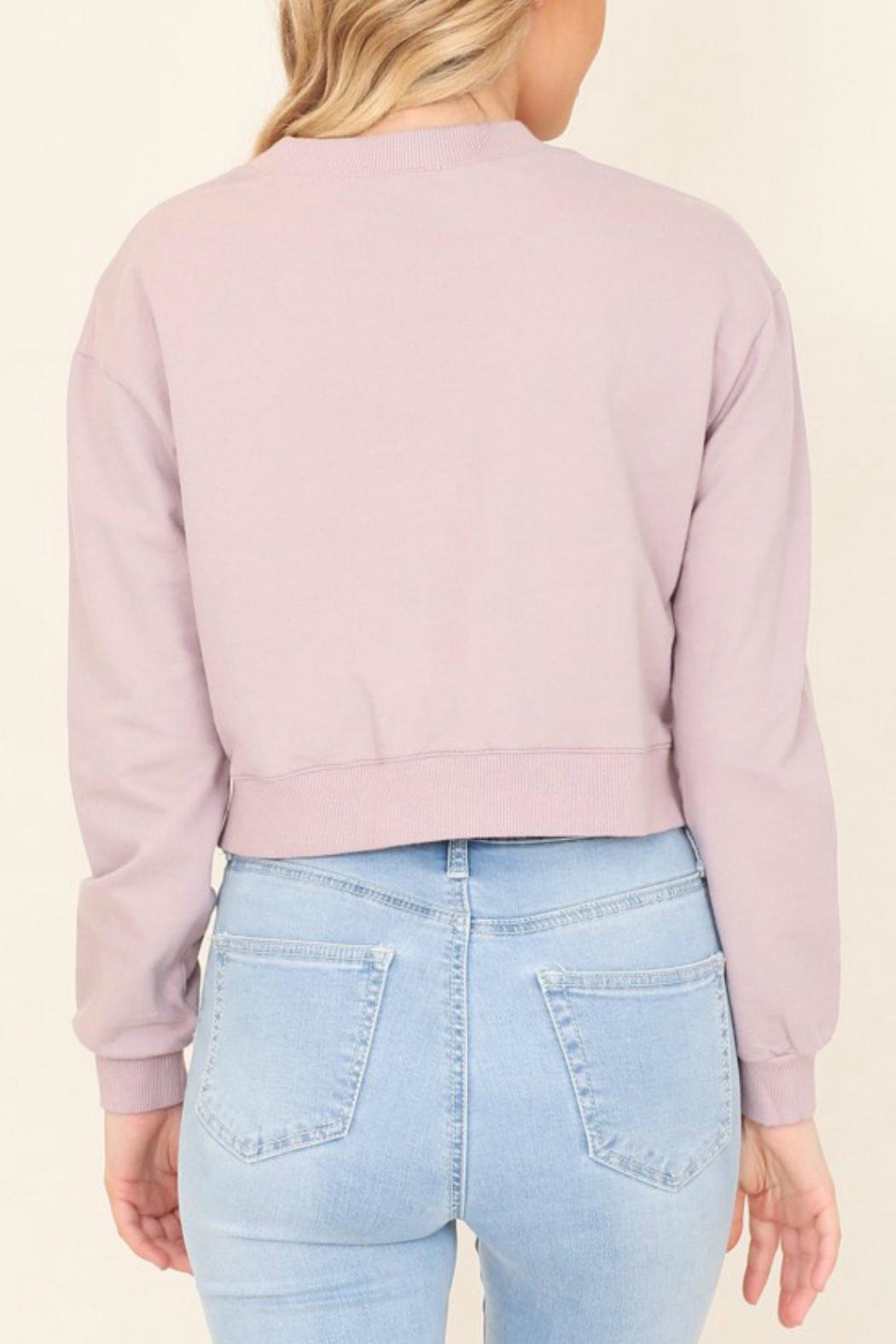 Illa Illa Cropped Side-Lace Sweatshirt - Front Full Image