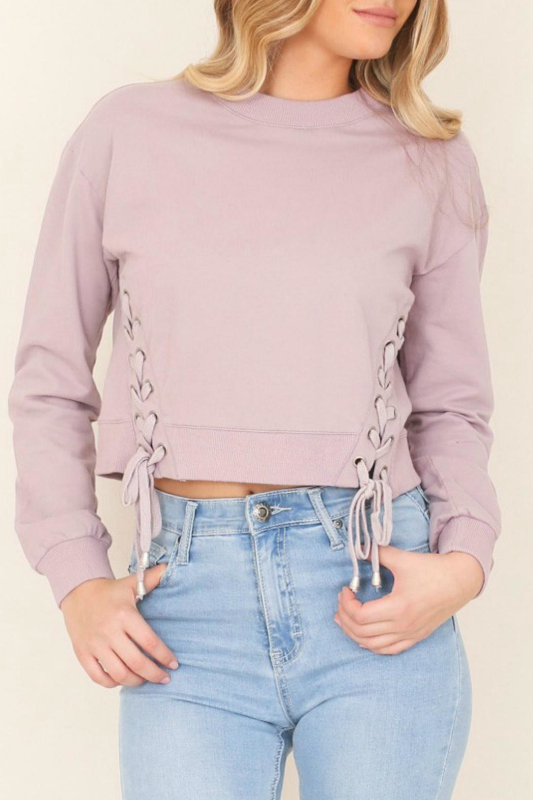 Illa Illa Cropped Side-Lace Sweatshirt - Main Image