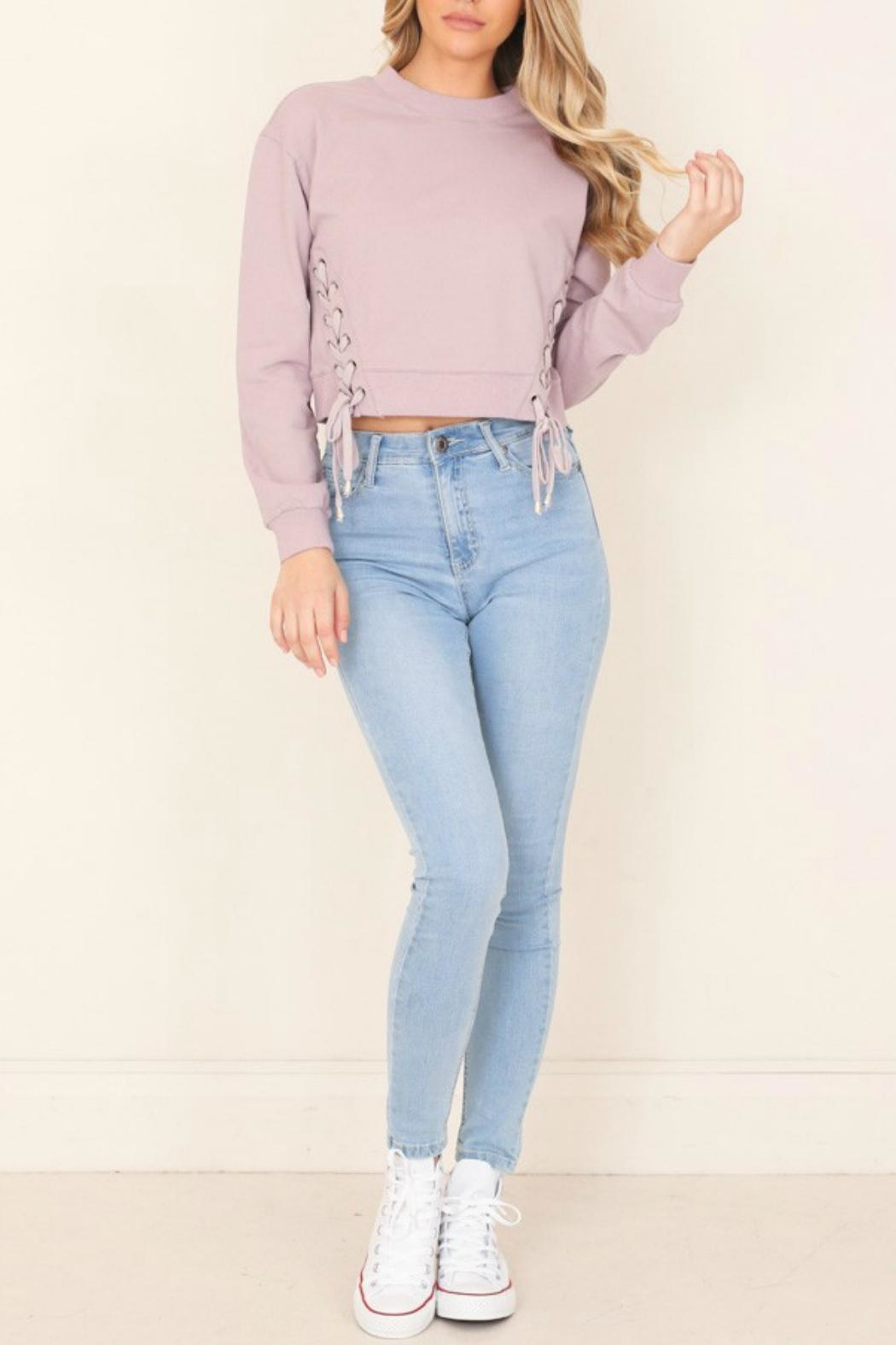 Illa Illa Cropped Side-Lace Sweatshirt - Back Cropped Image