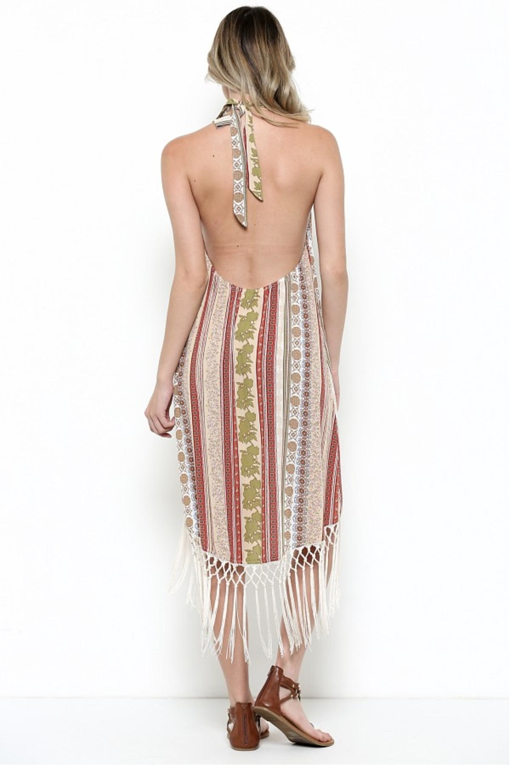 Illa Illa Fringe Halter Dress - Side Cropped Image