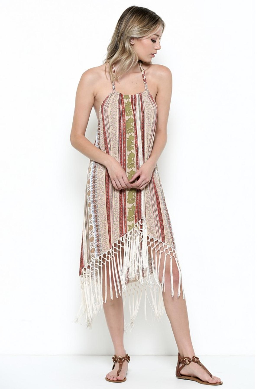 Illa Illa Fringe Halter Dress - Front Full Image