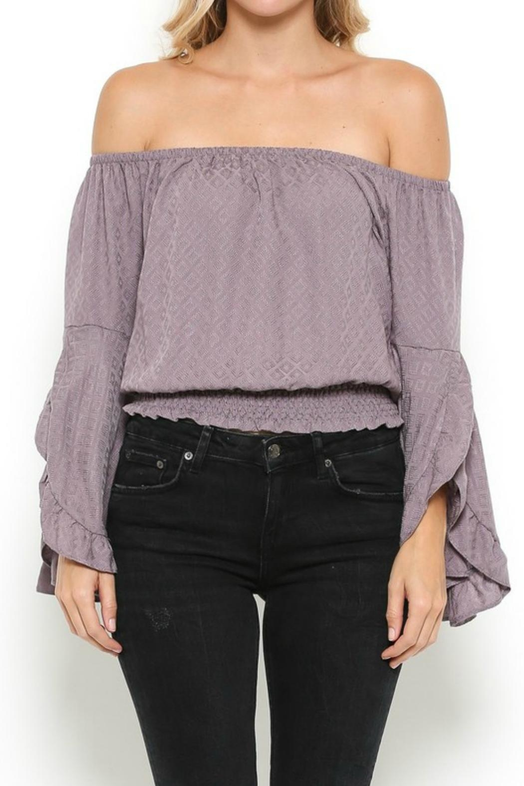 Illa Illa Lavender Off-The-Shoulder Top - Back Cropped Image