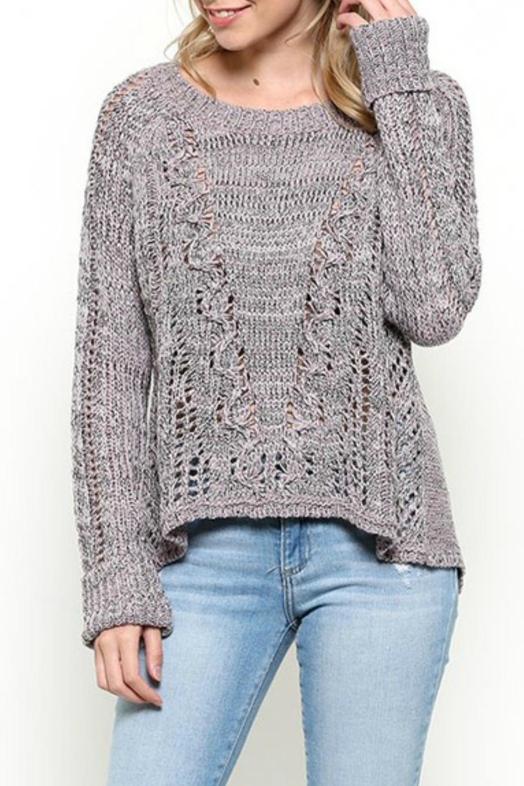 Illa Illa Lavender Open Back Sweater - Front Cropped Image