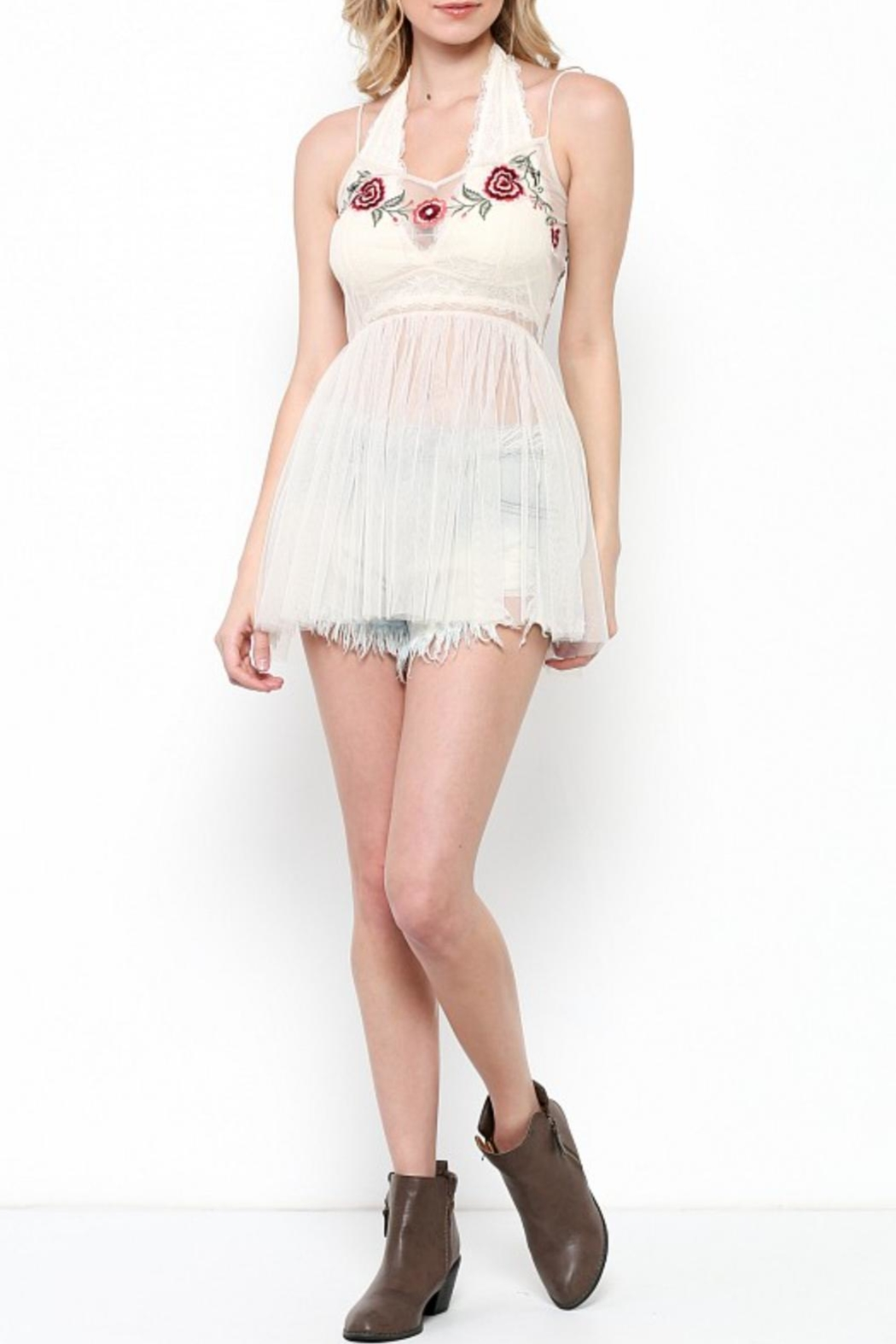 Illa Illa Mesh Embroidered Top - Side Cropped Image