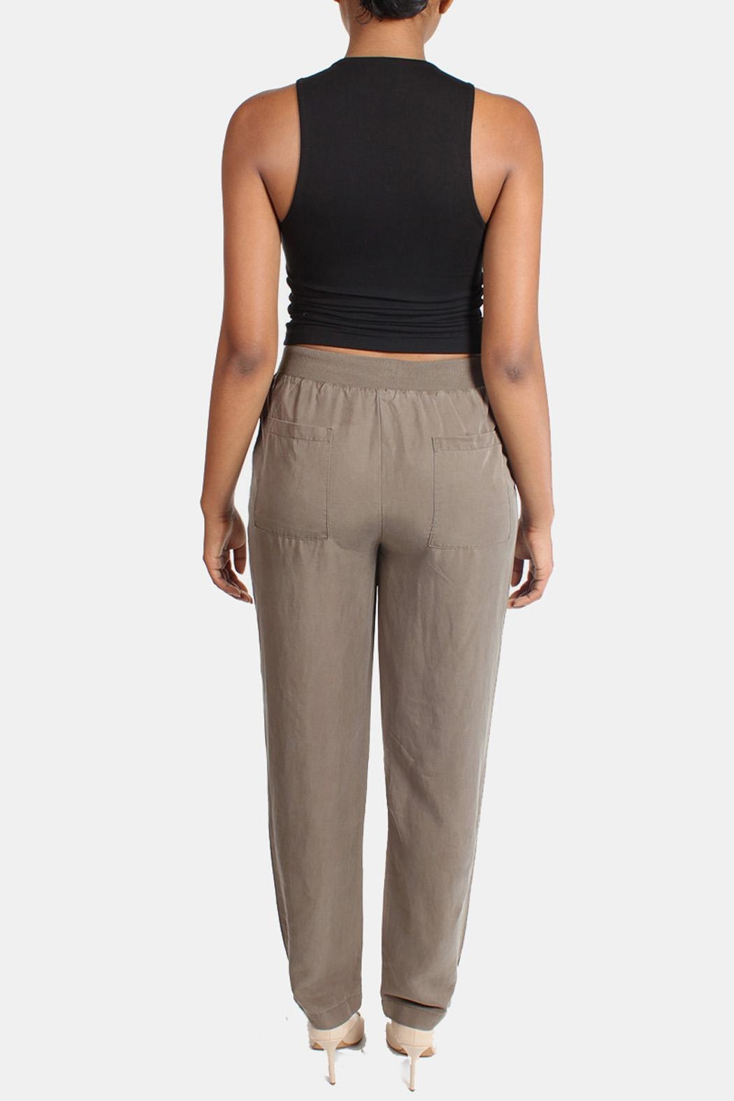 Illa Illa Olive Drawstring Pants - Back Cropped Image