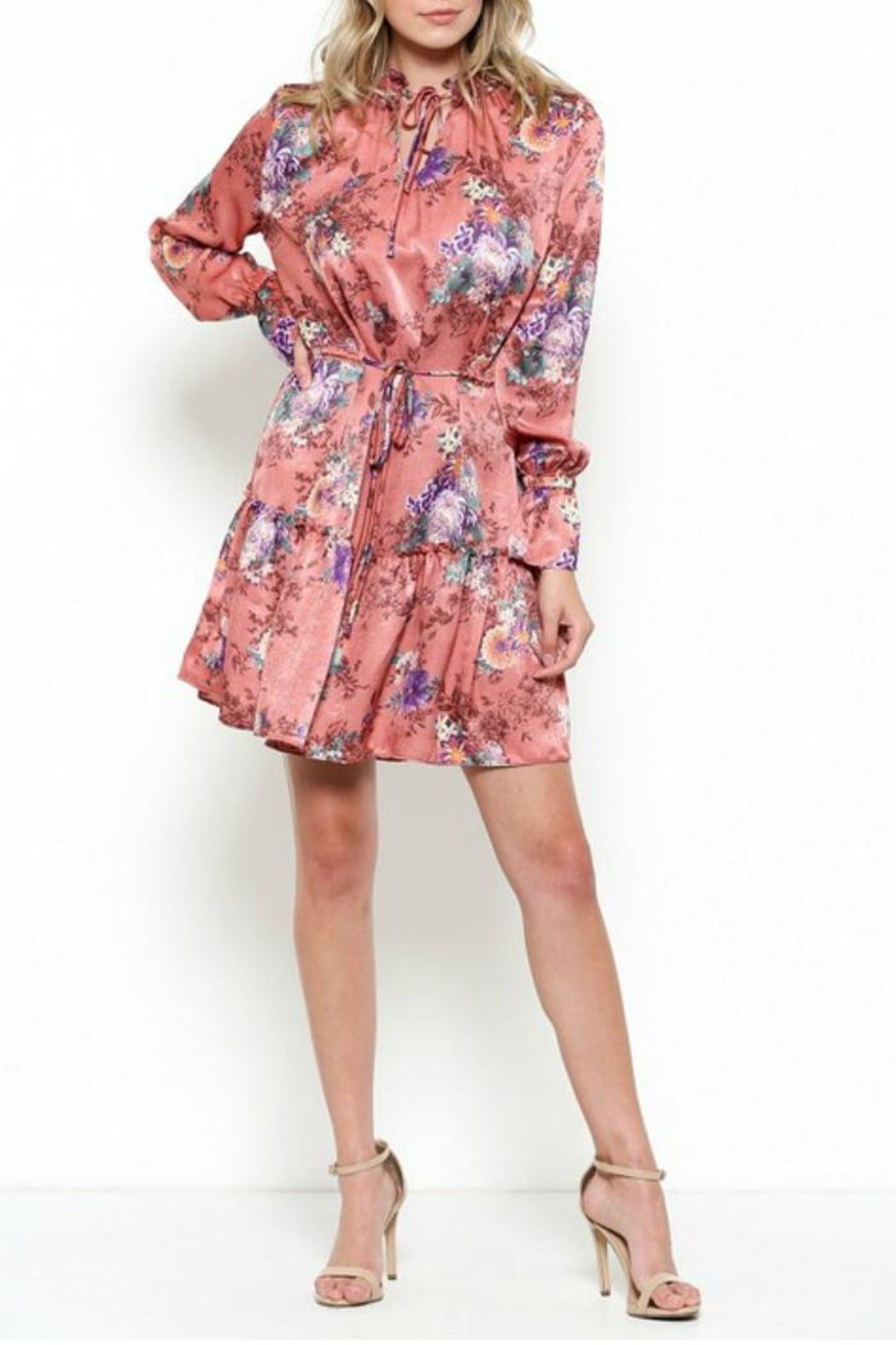 Illa Illa Silky Floral Dress - Front Cropped Image