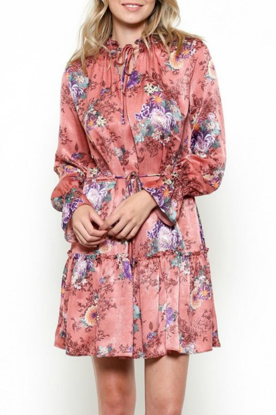 Illa Illa Silky Floral Dress - Front Full Image