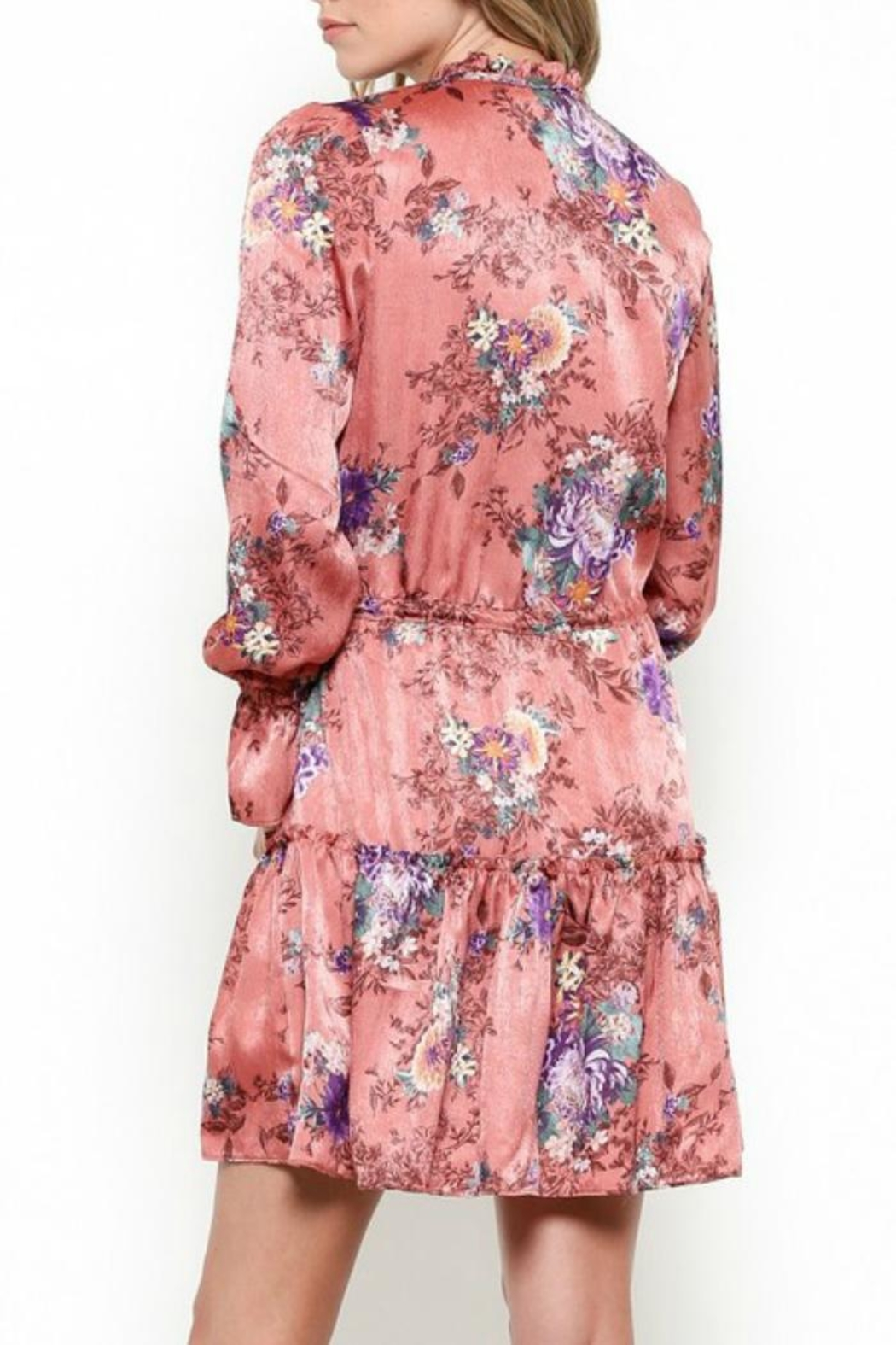 Illa Illa Silky Floral Dress - Side Cropped Image