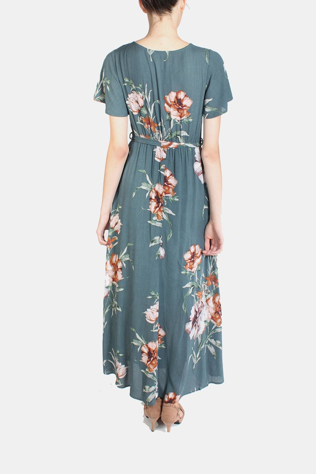 Illa Illa Sunrise Floral Wrap Dress - Back Cropped Image