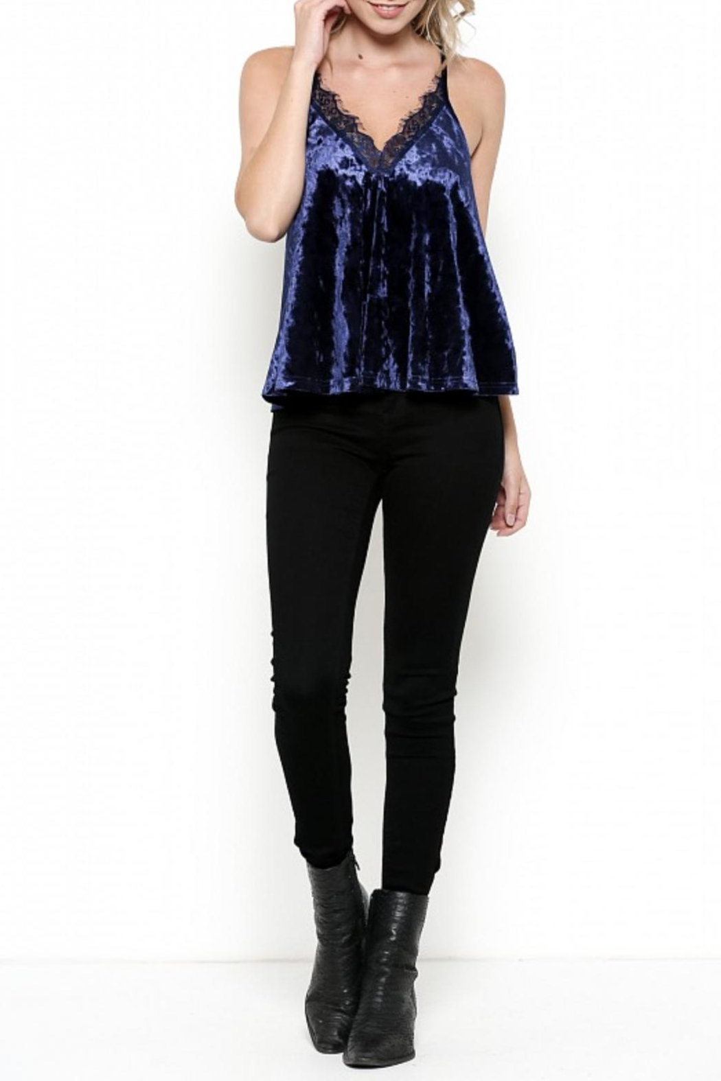 Illa Illa Velvet Lace Top - Front Cropped Image