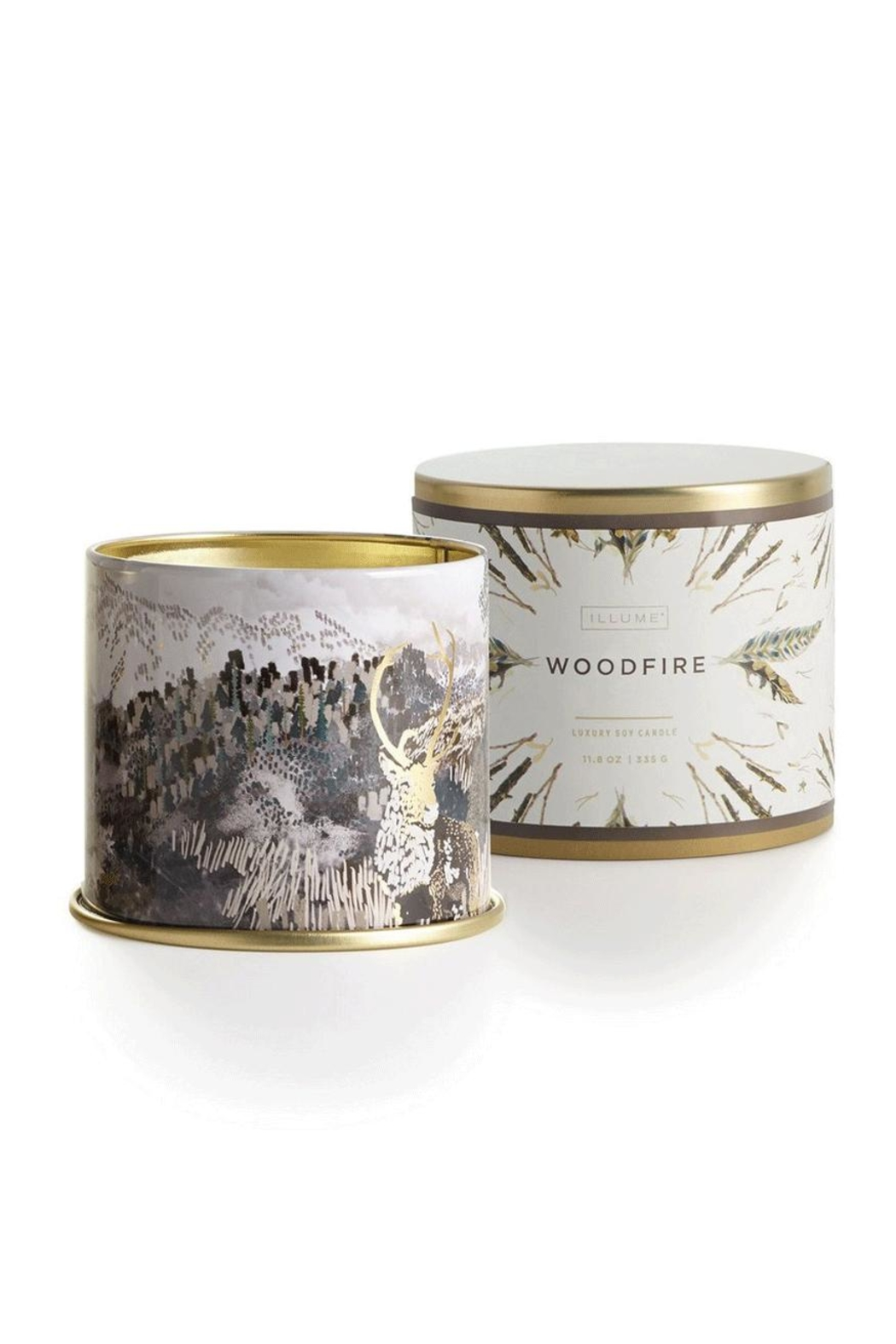 Illume  Woodfire Tin Candle - Front Cropped Image