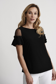 Joseph Ribkoff Illusion Flutter Sleeve Top, Black - Product Mini Image
