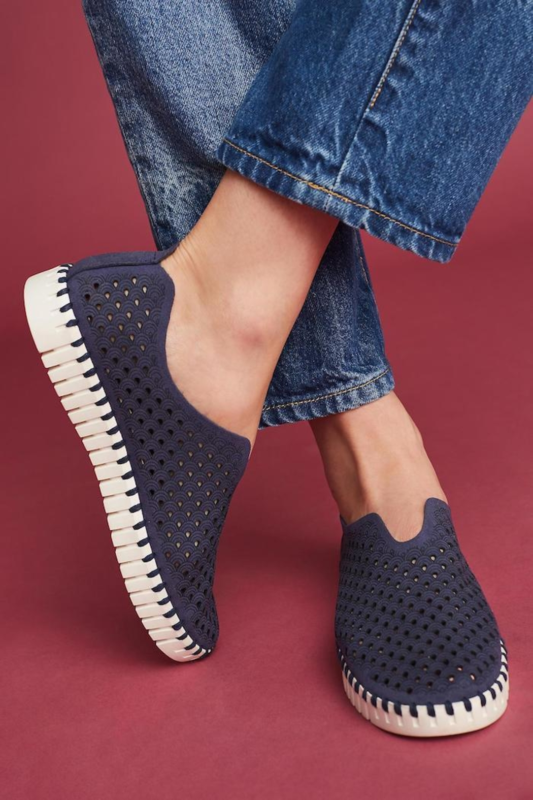 Ilse Jacobsen Tulip Perforated Sneaker - Front Full Image