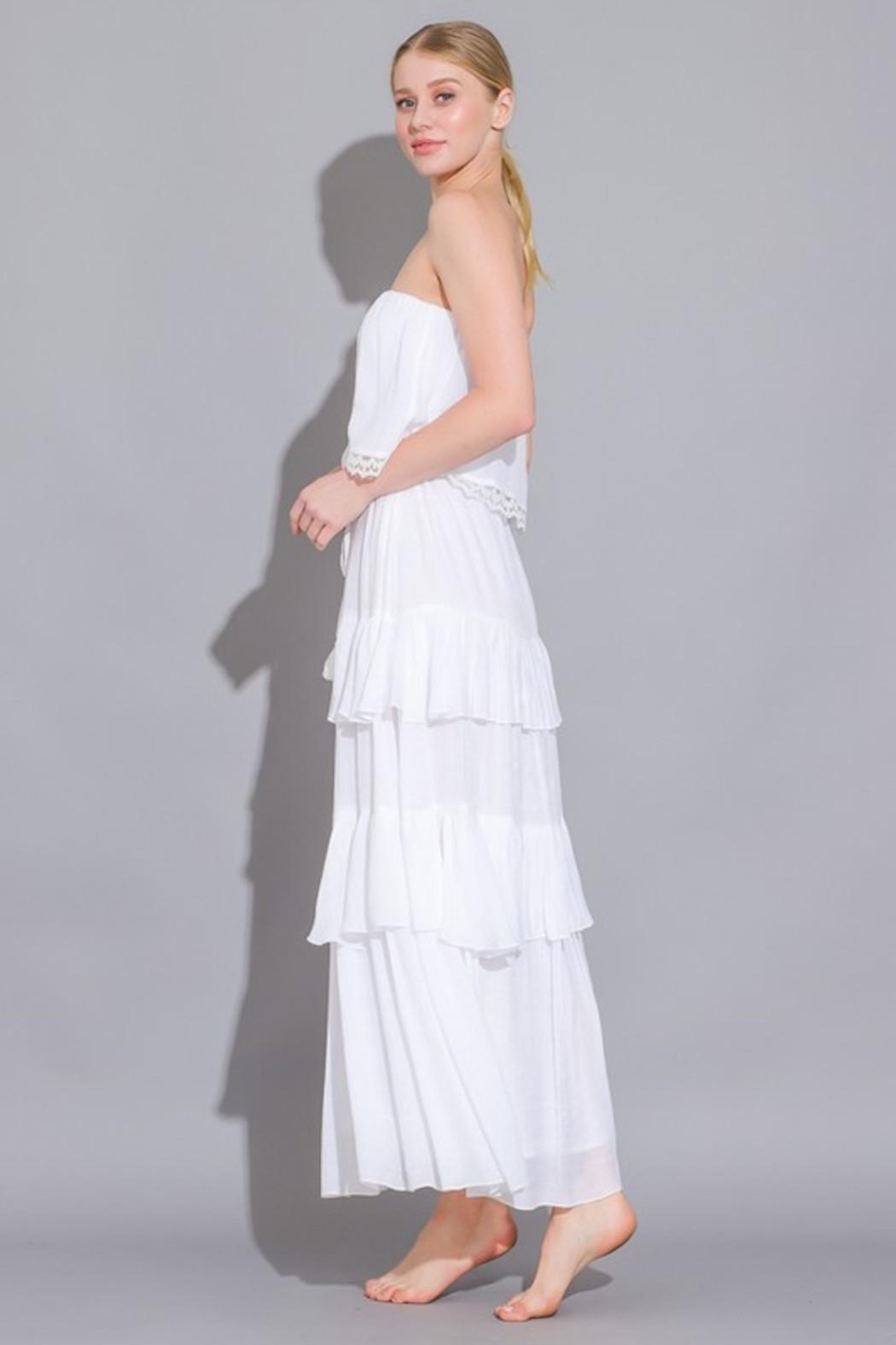 Imagine That White Ruffle Dress - Side Cropped Image