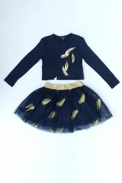 Imoga Navy Feather Skirt - Alternate List Image