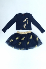 Imoga Navy Feather Skirt - Front full body