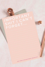 Lyn -Maree's Important $#!T I Can't Forget - Funny Blush Notepad - Product Mini Image
