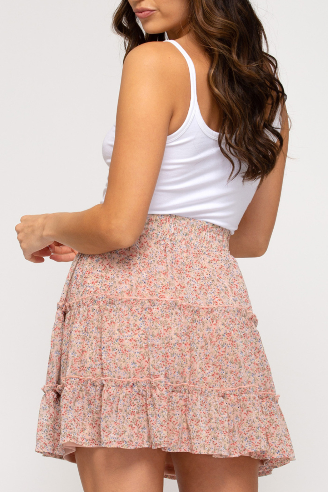 She & Sky  In Bloom Tiered Skirt - Front Full Image