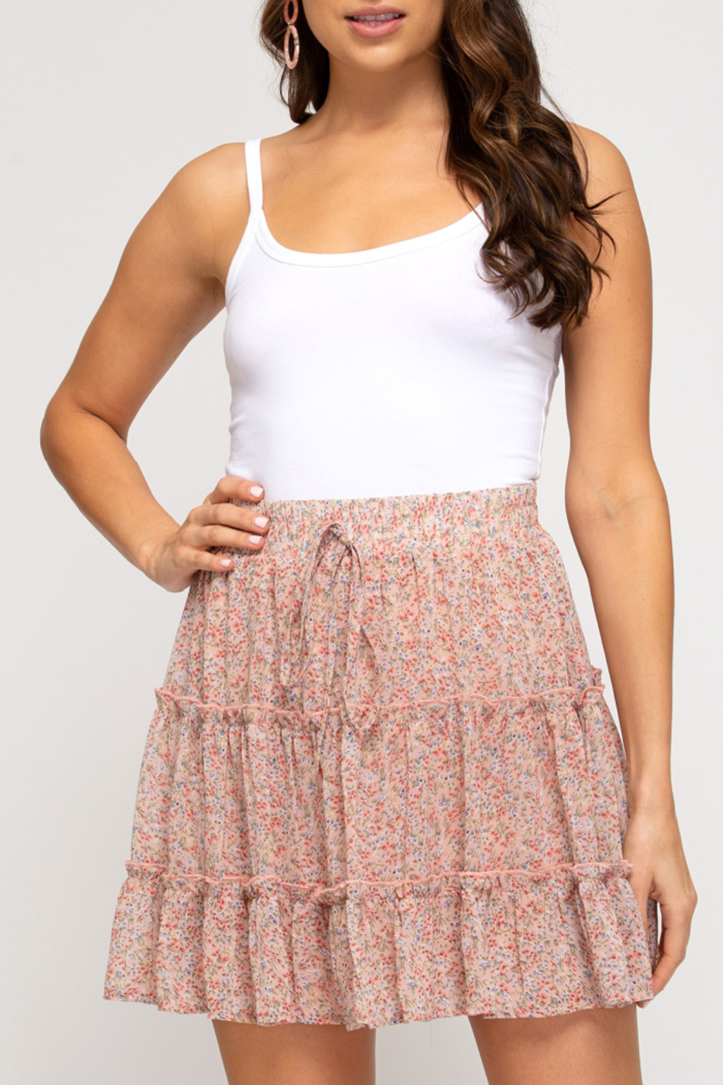 She & Sky  In Bloom Tiered Skirt - Front Cropped Image