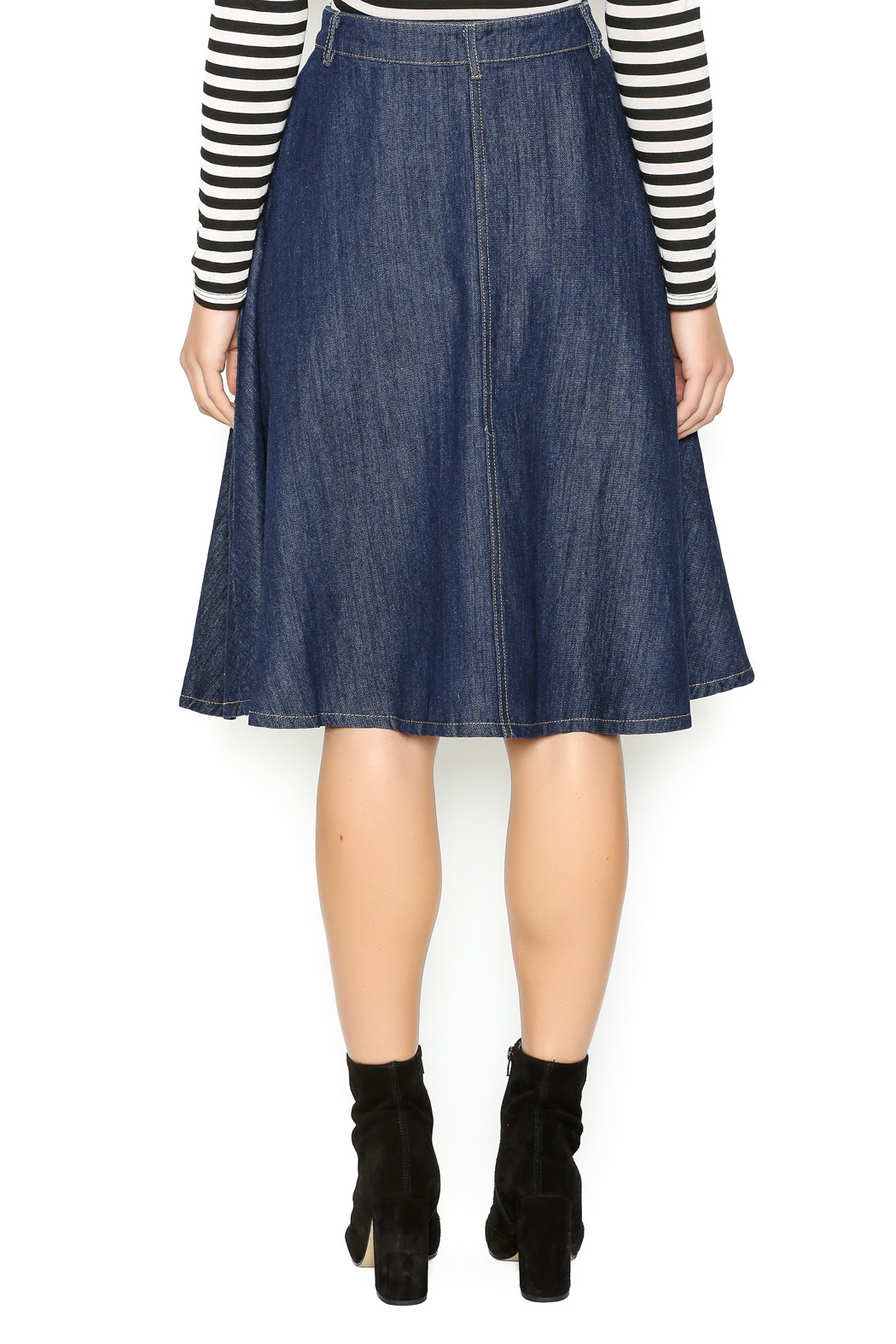 In Style Strong Denim Midi-Skirt - Back Cropped Image