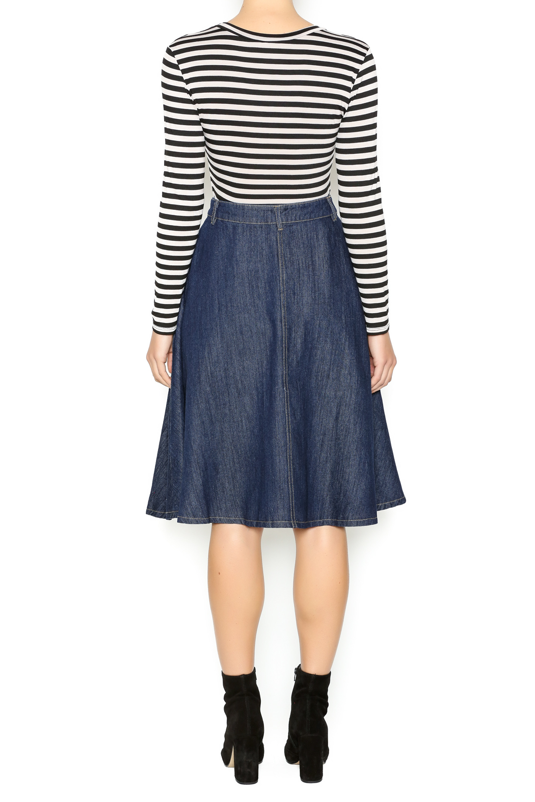 in style strong denim midi skirt from by myths of