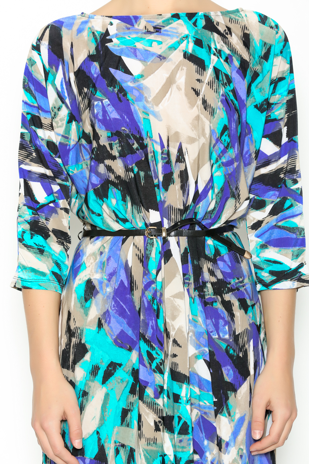 In The Loop Geometric Print Dress - Front Full Image
