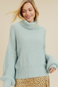 In Loom Baby Blue Turtleneck - Product List Image