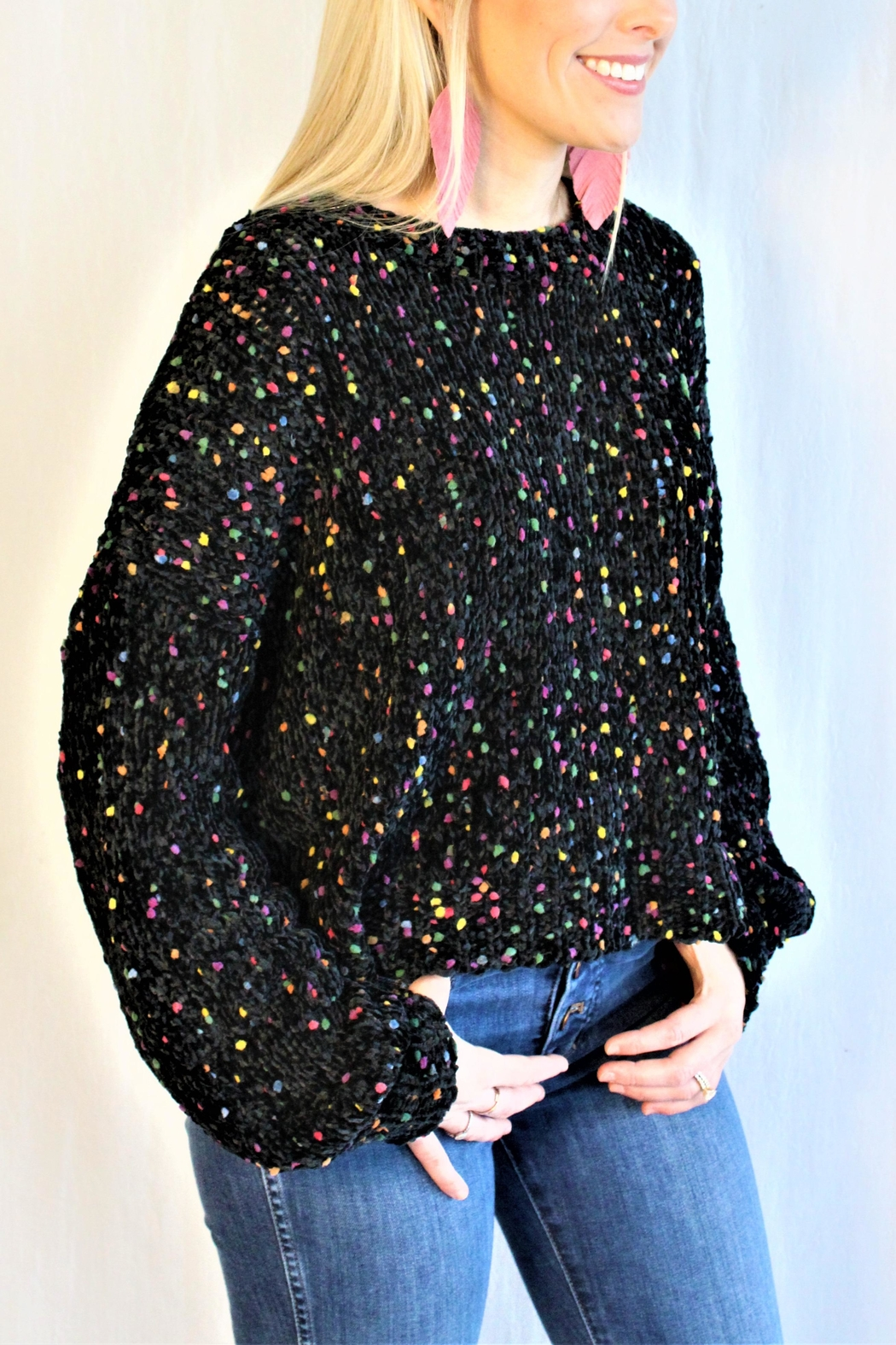 In Loom Confetti Pom Sweater - Front Full Image