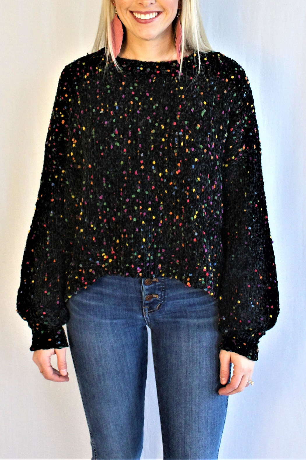 In Loom Confetti Pom Sweater - Front Cropped Image