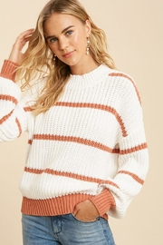 In Loom Cotton Blend Knit Striped Pullover Sweater - Front full body