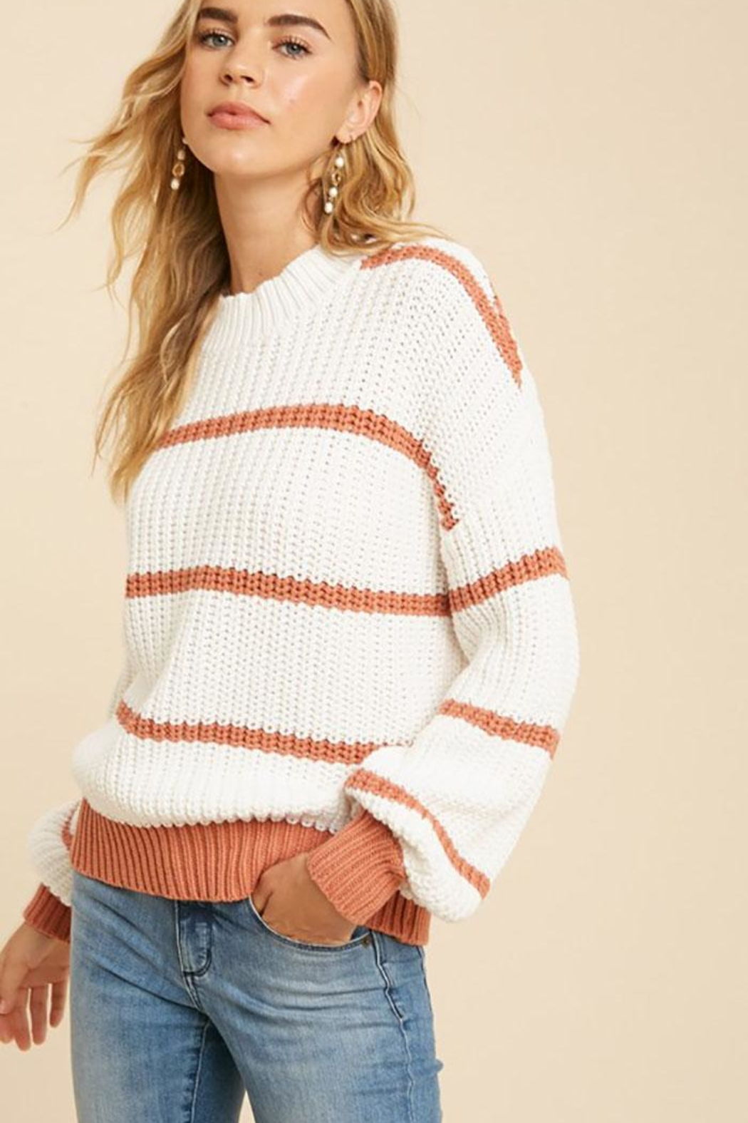 In Loom Cotton Blend Knit Striped Pullover Sweater - Main Image