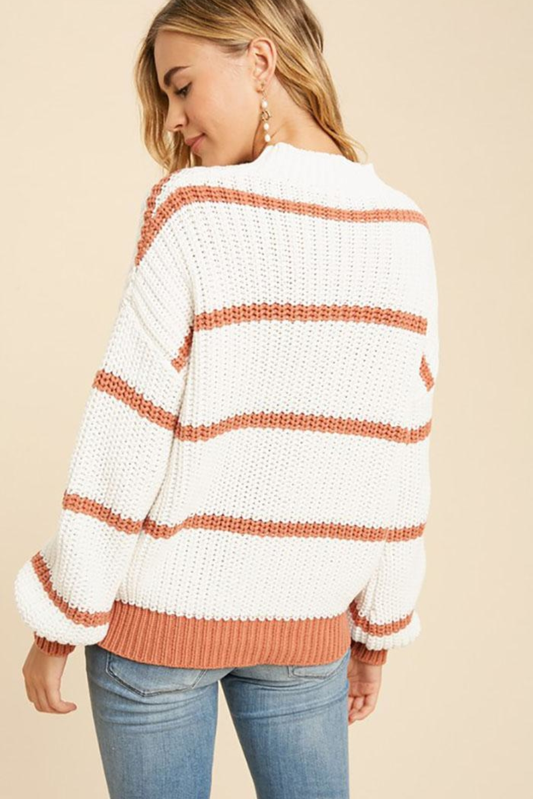 In Loom Cotton Blend Knit Striped Pullover Sweater - Side Cropped Image