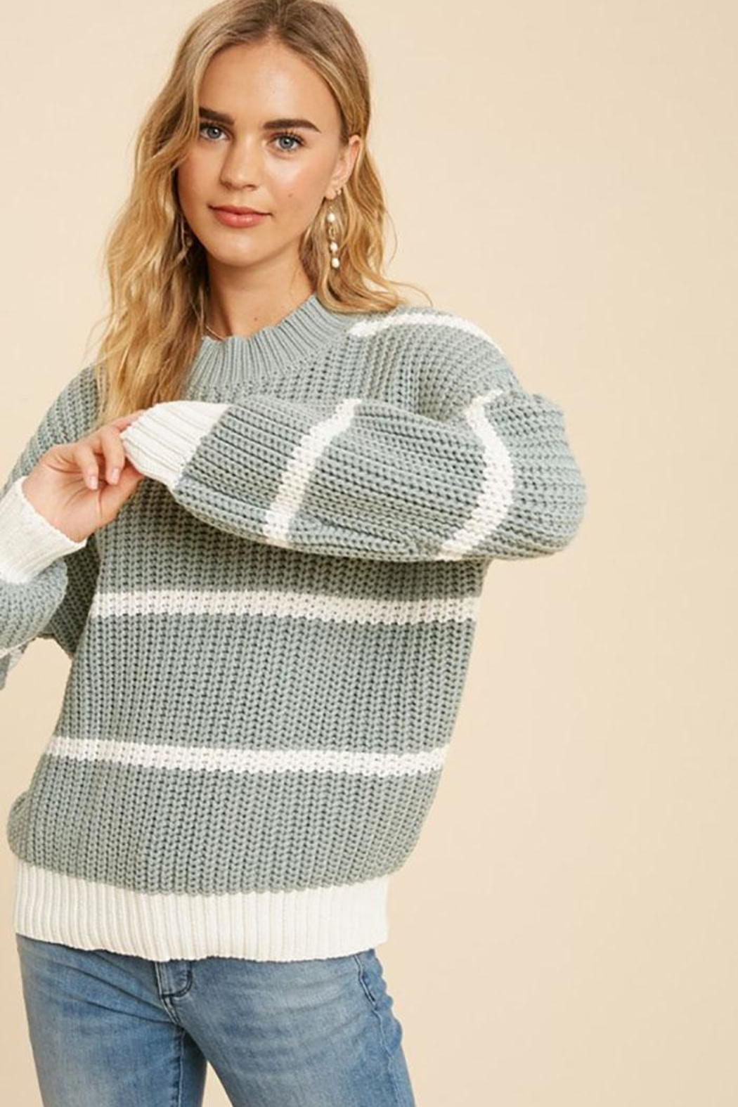 In Loom Cotton Blend Knit Striped Pullover Sweater - Front Full Image