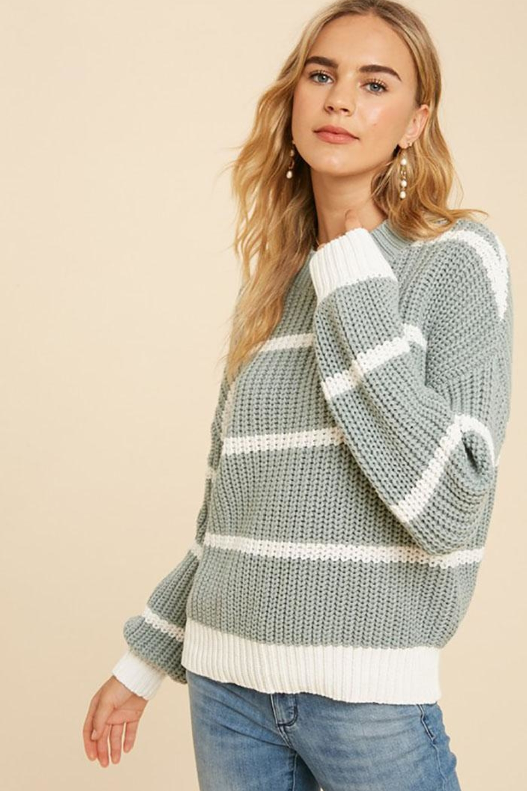 In Loom Cotton Blend Knit Striped Pullover Sweater - Front Cropped Image