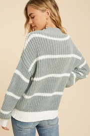 In Loom Cotton Blend Knit Striped Pullover Sweater - Side cropped