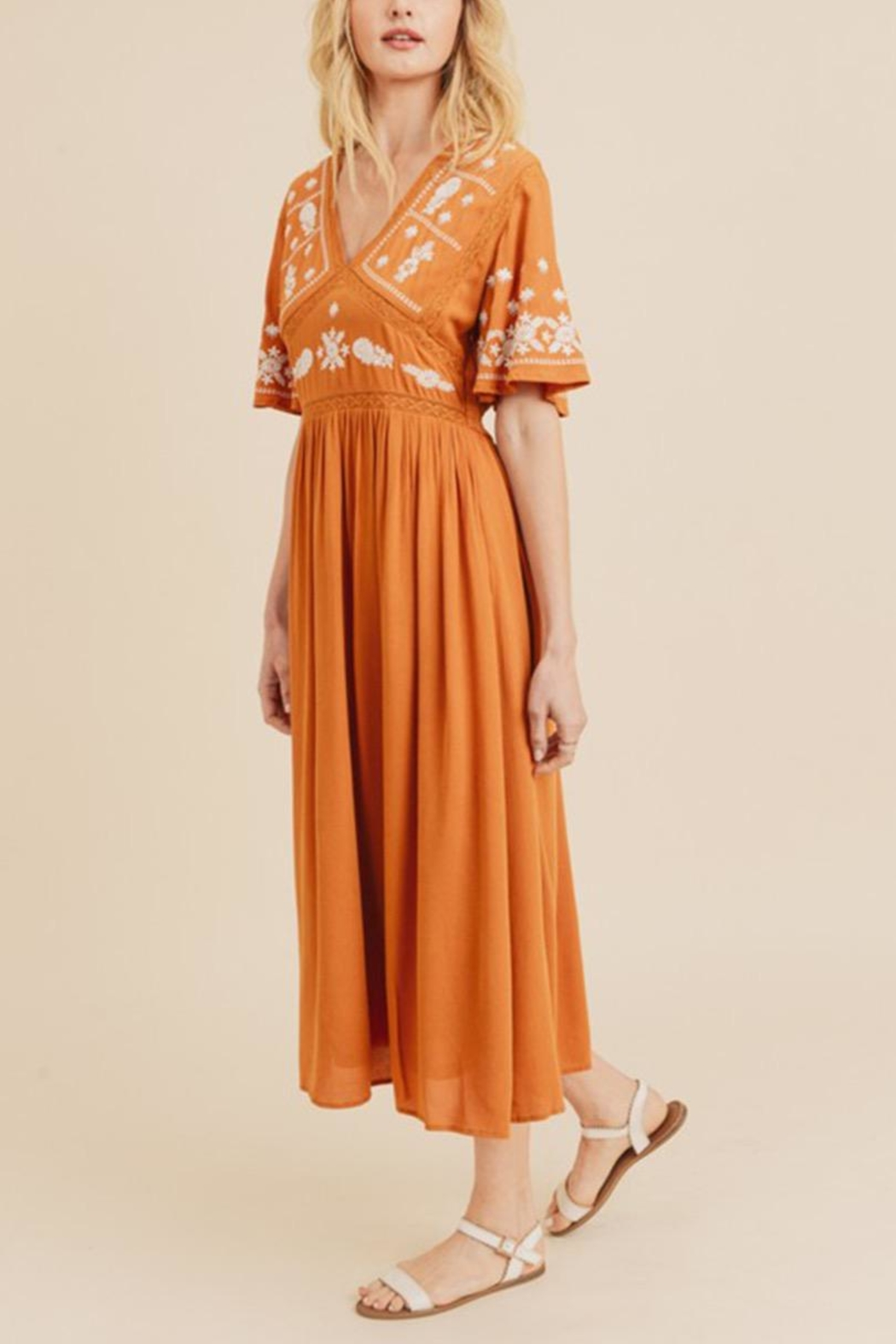 In Loom Embroidered Midi Dress - Side Cropped Image